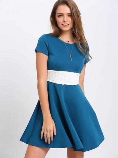 Blue Color Block A Line Dress