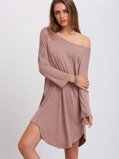 Apricot Wide Neck Asymmetric Shift Dress