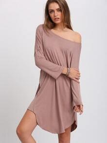 Apricot Wide Neck Asymmetric Shift Dress