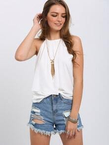White Pleated Keyhole Back Spaghetti Strap Top