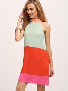 Green Color Block Mock Neck Sleeveless Dress