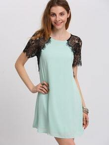 White Lace Short Sleeve Keyhole Back Shift Dress