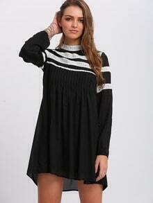 Black Contrast Lace Shift Dress