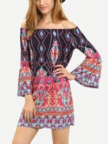 Boat Neck Paisley Print Black Dress