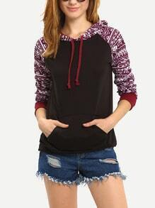Colour Hooded Geometric Print Pockets Sweatshirt
