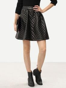 Black PU Leather Flare Skirt