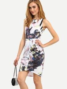 White Boat Neck Floral Asymmetric Dress