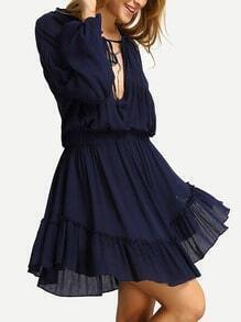 Blue Deep V Neck Lantern Sleeve Ruffle Lace Up Dress