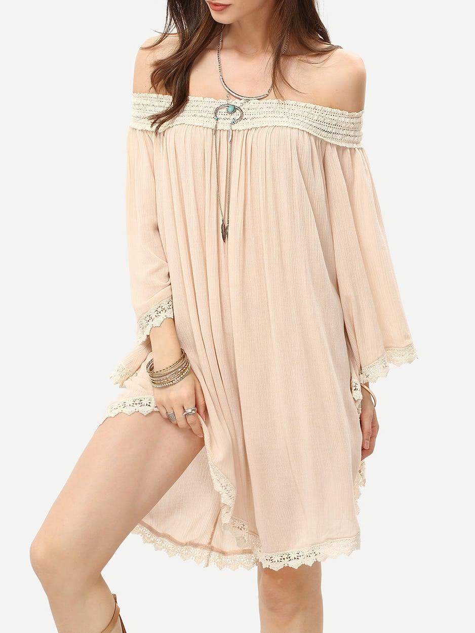 Apricot Off The Shoulder Crochet Trim Shift Dress dress160420703