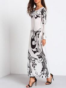 Abstract Print Chiffon Maxi Dress