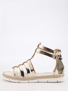 Faux Leather Caged Espadrille Sandals - Light Gold