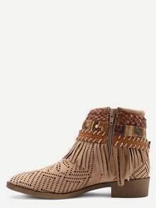 Faux Suede Lacer-Cut Wrap Strap Fringe Boots - Khaki