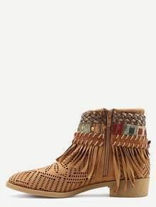 Faux Suede Lacer-Cut Wrap Strap Fringe Boots - Camel