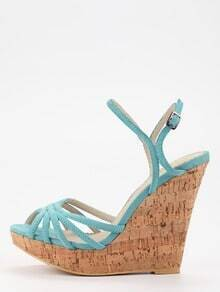 Faux Suede Strappy Wedges - Light Blue