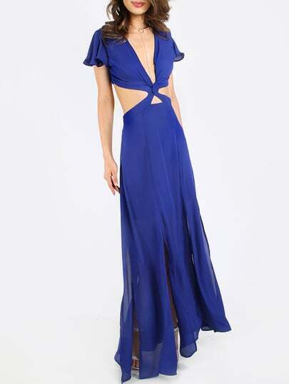 Royal Blue Twist Front CutOut Back Maxi Dress