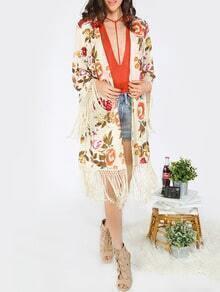 Multicolor Flower Print Tassel Kimono