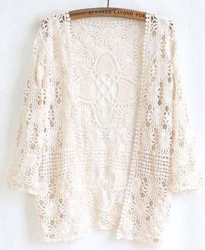 Apricot Long Sleeve Lace Cardigan Blouse