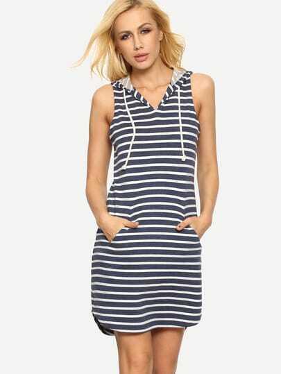 Blue White Striped Hooded Pockets Dress