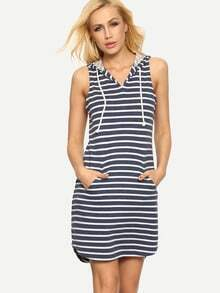 Blue White Striped Hooded Pockets Dress