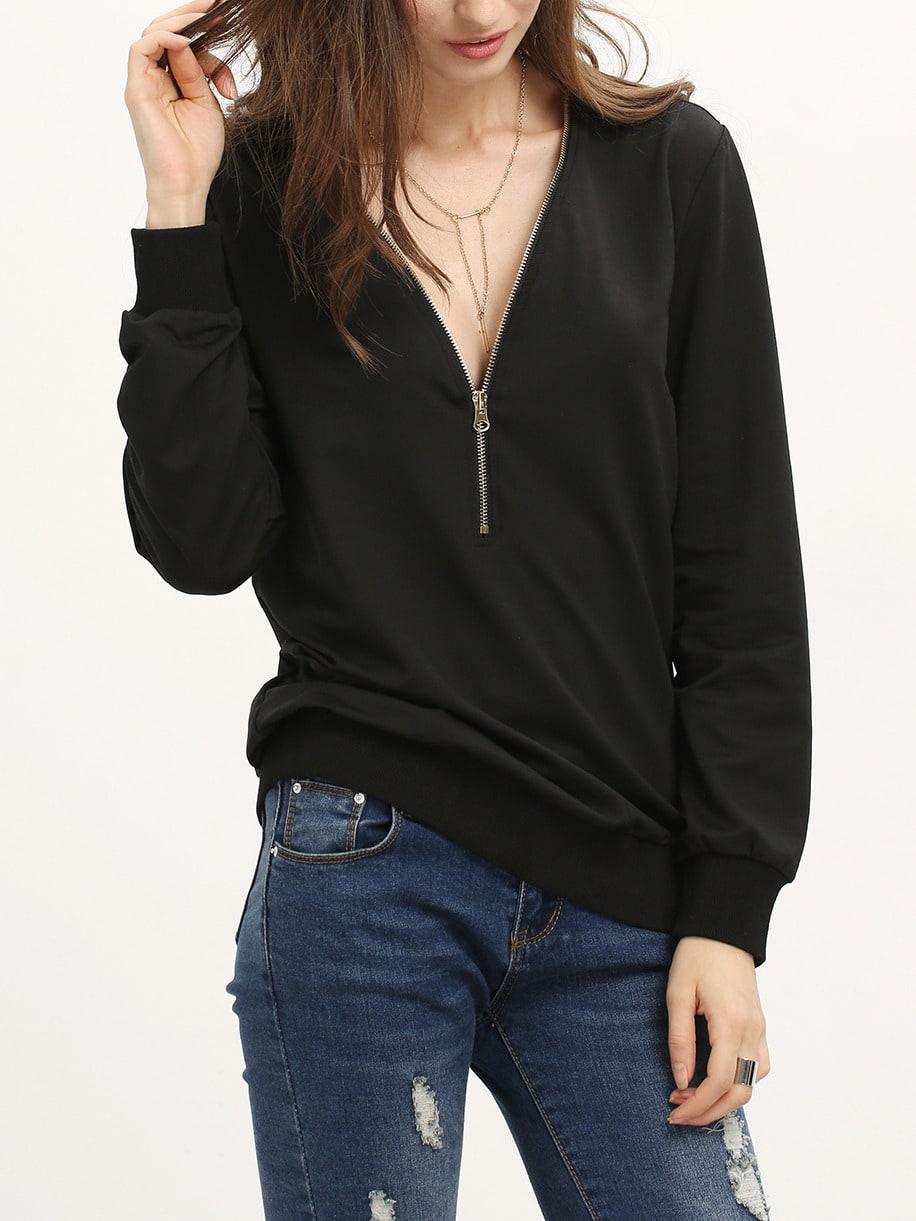 Black Zipper V Neck Plain Sweatshirt Larisa