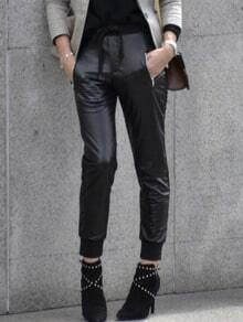 Black Tie Waist PU Leather Zipper Pants