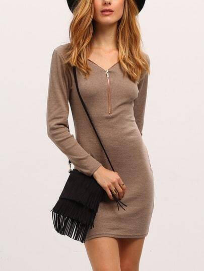 Apricot Zipper V Neck Bodycon Jersey Dress
