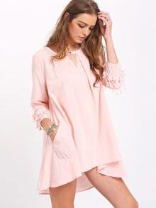 Pink Slit Neck Crochet Tassel Cuff Ruffle Blouse