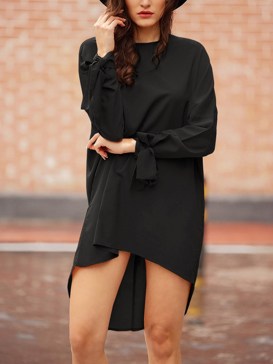 Black Knotted Sleeve High Low DressBlack Knotted Sleeve High Low Dress<br><br>color: Black<br>size: XS