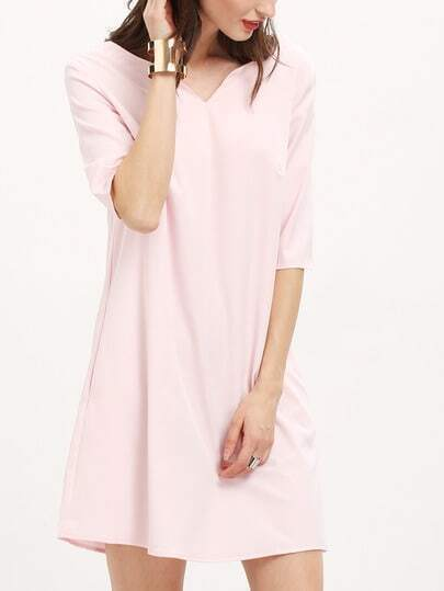 Pink Half Sleeve Blush Backless Dress