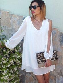 V Neck Split Sleeve Lovely Adorable Chiffon Styles White Dress