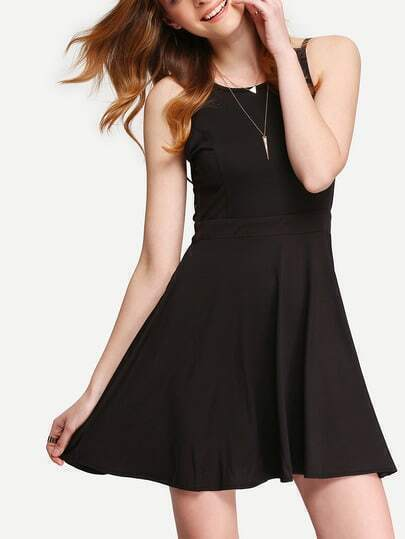 Black Crossback Reverse Criss Cross Backless Pleated Dress