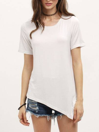 White Short Sleeve Asymmetrical Loose T-Shirt