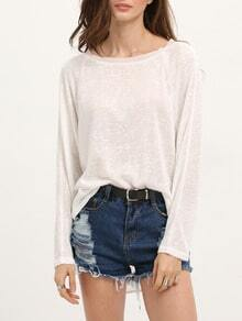 White Long Sleeve High Low Sweater