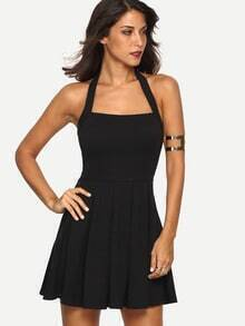Black Halter Backless Pleated Dress
