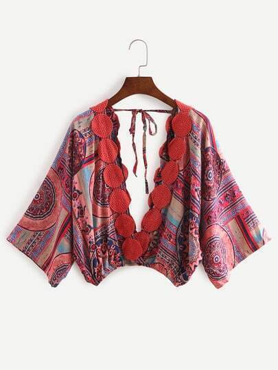 Deep V Neck Florals Lace Up Crochet Top