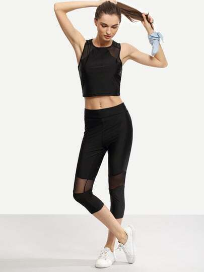 Mesh Insert Crop Tank Top With Skinny Pants - Black