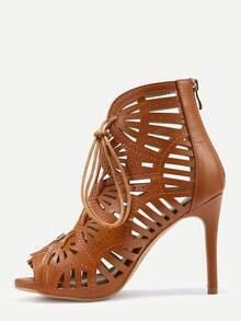 Sandalias cordón tacón alto - camello