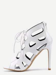 Laser Cut Peep Toe Lace-Up Pumps - White