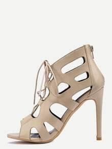 Laser Cut Peep Toe Lace-Up Pumps - Apricot