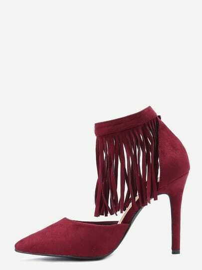 Burgundy Fringe Ankle Cuff Pointed Toe Heels