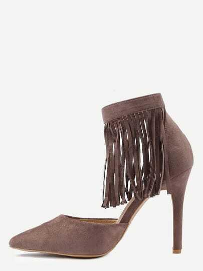 Khaki Fringe Ankle Cuff Pointed Toe Heels
