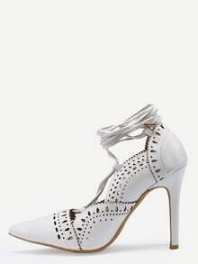 White Laser Cut Lace-Up Pointed Toe Pumps