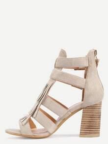 Faux Suede Caged Cork Heel Sandals - Beige