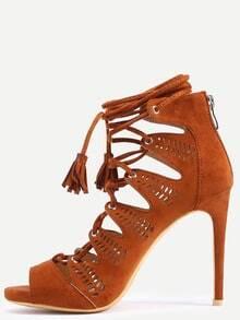 Sandalias faux suede cordón - camello