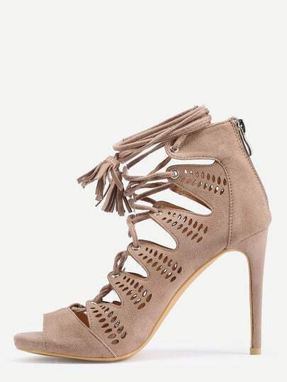 Faux Suede Lace-Up Heels - Beige