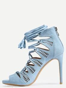 Faux Suede Lace-Up Platform Heels - Light Blue