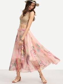 Flower Print Long Skirt