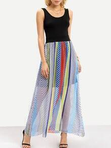 Scoop Neck Striped Maxi Dress