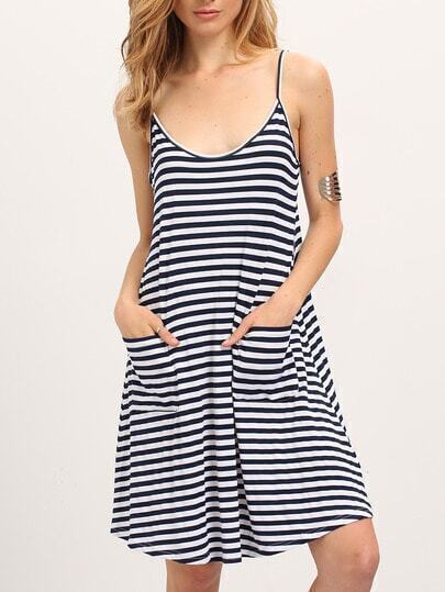 Pinstrip Slip Dress With Pockets