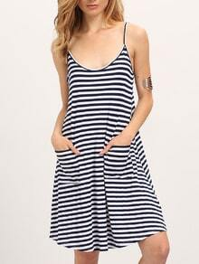 White Black Spaghetti Strap Striped Pockets Dress